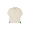 Long Sleeve Prim & Proper Polo - Palmetto Pearl with Keeneland Khaki Stork