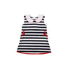 Luanne's Lunch Dress - Nantucket Navy & Worth Avenue White Stripes with Richmond Red