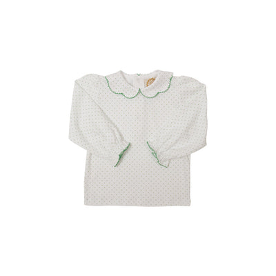 Maude's Peter Pan Collar Shirt - Worth Avenue White with Kiawah Kelly Green Micro Dots