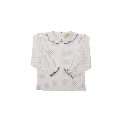 Maude's Peter Pan Collar Shirt - White Pima with Nantucket Navy Micro Dots
