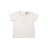 Maude's Peter Pan Collar Shirt - White Short Sleeve Knit Pima Cotton