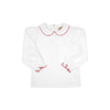 Maude's Peter Pan Collar Shirt (Long Sleeve Pima) - White with Richmond Red