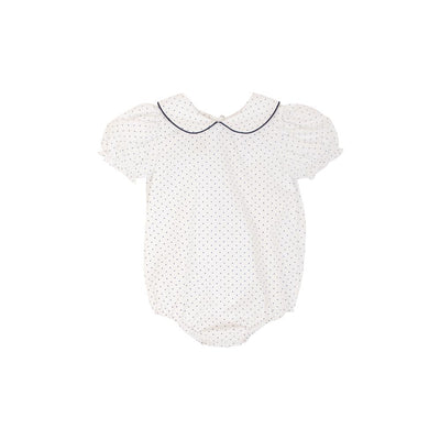 Maude's Peter Pan Collar Shirt (Short Sleeve Woven) - Nantucket Navy Micro Dot with Worth Avenue White