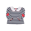 Maude's Elbow Patch Top - Nantucket Navy Stripe with Richmond Red Elbow Patches