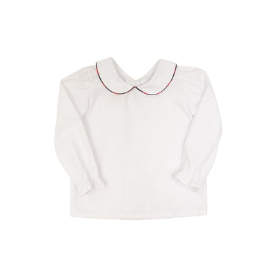Maude's Peter Pan Collar Shirt (Long Sleeve Woven) - Worth Ave. White with Pelham Manor Plaid