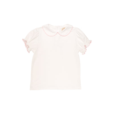Maude's Peter Pan Collar Shirt (Short Sleeve Pima) - White with Hamptons Hot Pink