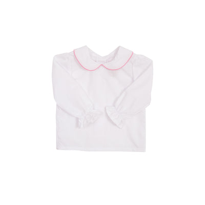 Maude's Peter Pan Collar Shirt - White Woven Long Sleeve with Hamptons Hot Pink Trim