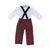 Mr. Bingley Britches - Society Prep Plaid with Navy Straps & Peter Pan Collar Onesie with Plaid Piping