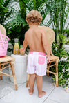 Turtle Bay Swim Trunks - Caicos Cabana Stripe with Hamptons Hot Pink