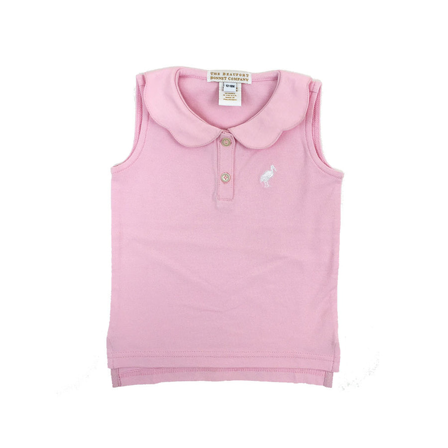 Paige's Playful Polo Sleeveless Shirt - Plantation Pink with White Stork