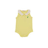 Paige's Playful Sleeveless Polo Onesie - Seaside Sunny Yellow with Worth Avenue White & Kelly Green Stork