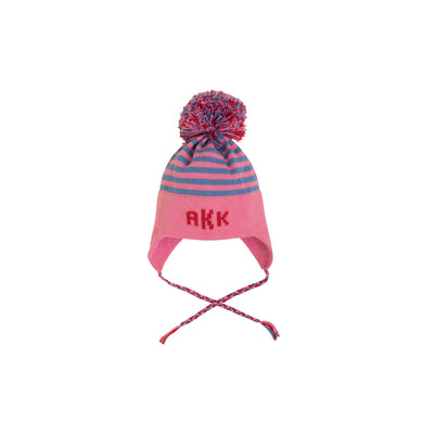 Parrish Pom Pom Hat - Hamptons Hot Pink with Park City Periwinkle Stripe