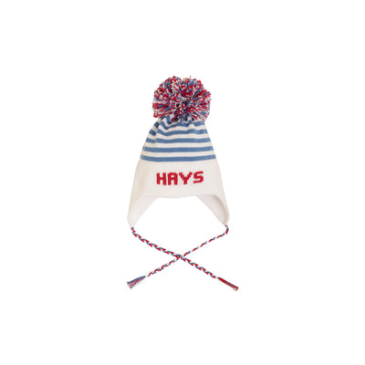 Parrish Pom Pom Hat - Worth Avenue White with Park City Periwinkle Stripe