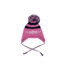 Parrish Pom Pom Hat - Hot Pink and Navy with White
