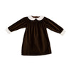 Patsy's Dinner Party Dress - Chelsea Chocolate Velveteen with Worth Avenue White