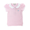 Patty's Pretty Polo Shirt - Plantation Pink with White and Blue