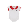 Patty's Pretty Polo Onesie - Worth Avenue White with Richmond Red and Nantucket Navy Stork