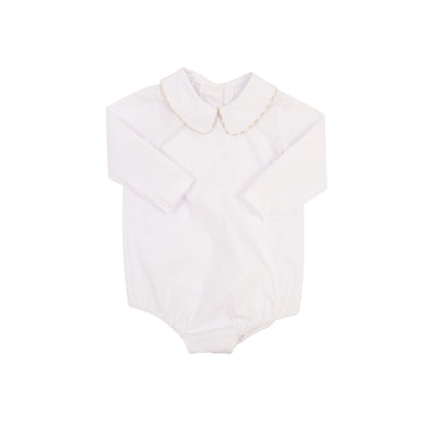 Peter Pan Collar Shirt (Long Sleeve Woven) - Worth Ave. White with Khaki Gingham Trim