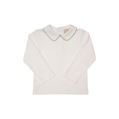 Peter Pan Collar Shirt (Long Sleeve Pima) - White with Kiawah Kelly Green Trim