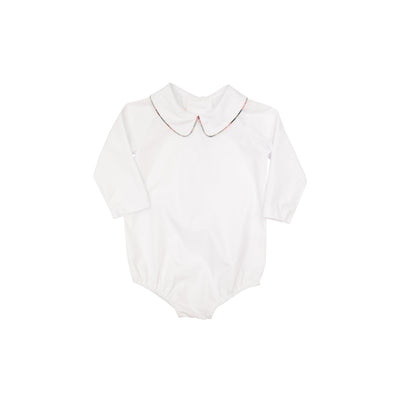 Peter Pan Collar Shirt (Long Sleeve Woven) - Worth Avenue White with Aiken Place Plaid