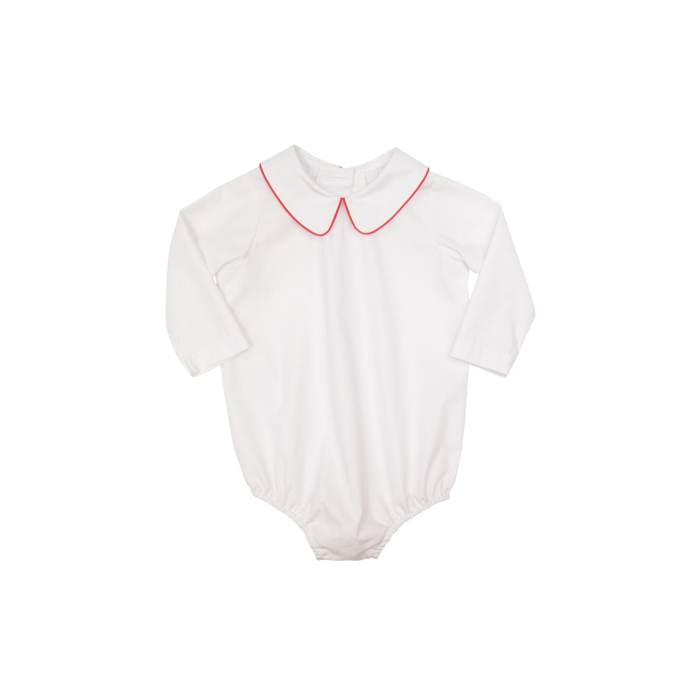 351342812 Peter Pan Collar Shirt (Long Sleeve Woven) - Worth Ave. White with Richmond  Red