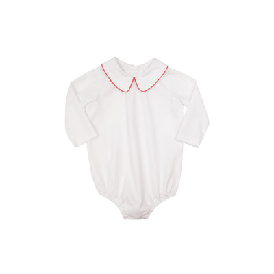 Peter Pan Collar Shirt (Long Sleeve Woven) - Worth Ave. White with Richmond Red