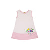 Pippy's Pima Play Dress - Worth Avenue White with Plantation Pink & Bouquet Applique