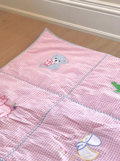 Payton Playmat - Pink Seersucker Check with Hamptons Hot Pink