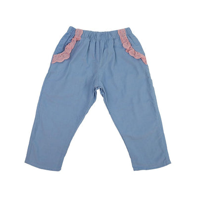Poppins Pants - Buckhead Blue Corduroy with Plantation Pink
