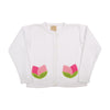 Pratt's Pocket Cardigan - Worth Avenue White with Tulip Applique Pockets
