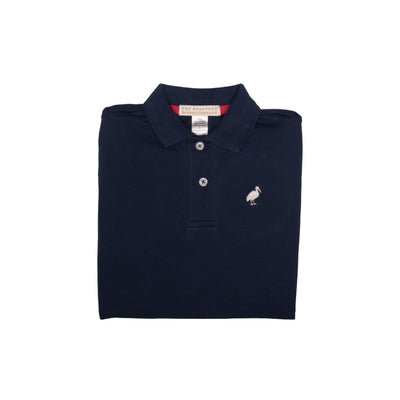 Prim & Proper Polo - Nantucket Navy with Multicolor Stork