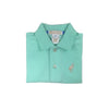Prim and Proper Polo Onesie - Sea Island Seafoam with Khaki Stork