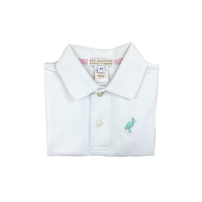 Prim and Proper Polo Onesie - Worth Avenue White with Seafoam Stork
