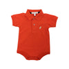 Prim & Proper Polo Onesie - Old Dominion Orange with Keeneland Khaki