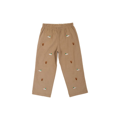 Critter Princeton Pant - Keeneland Khaki Corduroy with Mississippi Mallard Embroidery