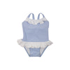 Rodeo Drive Ruffle Swimsuit - Bay Street Blue With Worth Avenue White