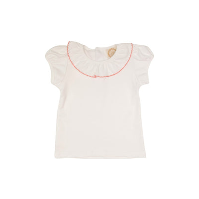 Ramona Ruffle Collar Shirt (Short Sleeve Pima) - Worth Avenue White with Richmond Red Trim