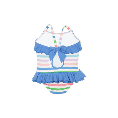 Rodeo Drive Ruffle Swimsuit - Broad Street Stripe with Sunrise Blvd Blue