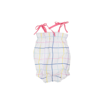 Rosey Romper - Water Street Windowpane with Hamptons Hot Pink