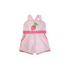 Ruthie Romper - Palm Beach Pink with Hamptons Hot Pink and Strawberry Applique