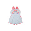Ruthie Romper - Buckhead Blue with Hamptons Hot Pink and Rainbow Applique