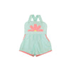 Ruthie Romper - Sea Island Seafoam with Sandpearl Pink & Flower Applique