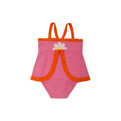 Sanctuary Scallop Swimsuit - Sorbet with Flower Applique