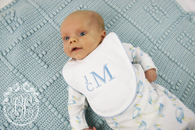 Bellyful Bib - White with Buckhead Blue Picot Trim