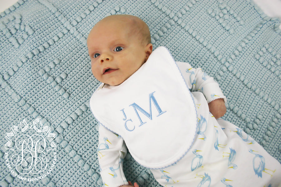 Bellyfull Bib - White with Buckhead Blue Picot Trim