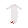 Sadler Sack Gown - Worth Avenue White with Richmond Red Picot Trim