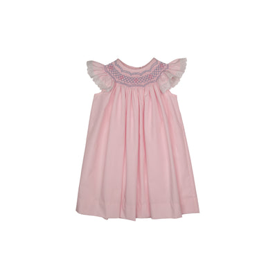 Sandy Smocked Dress - Plantation Pink with Blue and Pink Smocking