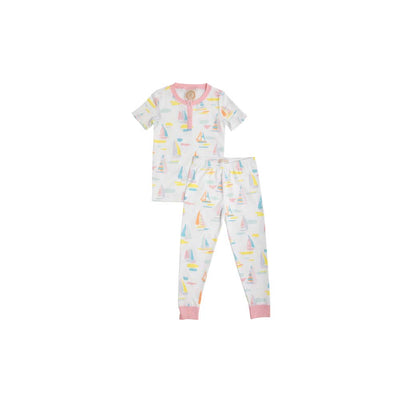 Sara Jane's Short Sleeve Set - Sandyport Sailboats with Sandpearl Pink