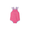 Saylor Sunsuit - Hamptons Hot Pink with Buckhead Blue & Worth Avenue White Eyelet