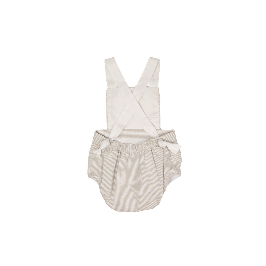 Sayre Sunsuit - Keeneland Khaki Seersucker with Worth Ave. White Pique